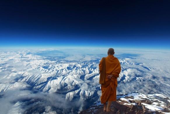 monje budista nieve